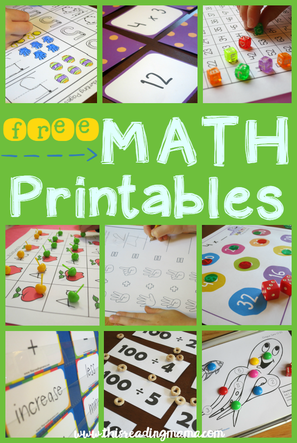 FREE Math Printables from This Reading Mama