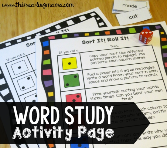 FREE Word Study Activity Page - This Reading Mama