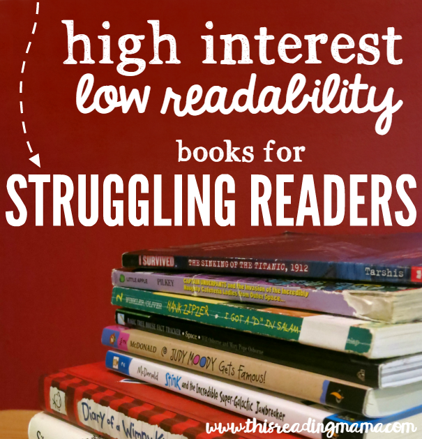 High Interest Low Readability Book List for Struggling Readers - This Reading Mama