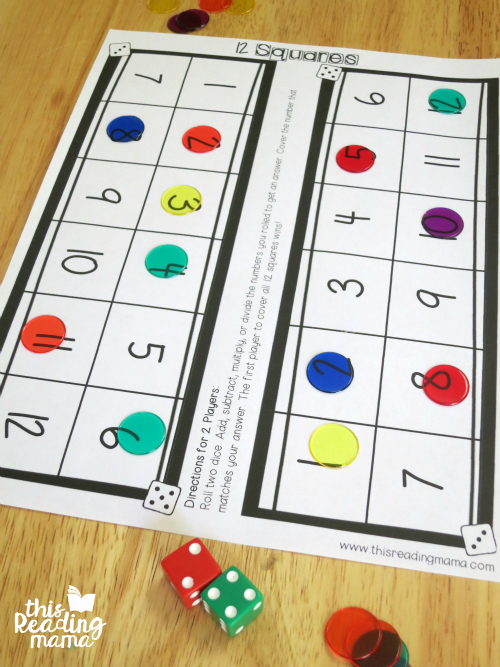 Math Facts Dice game for two players