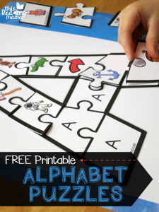 Printable Alphabet Puzzles {Upper and Lowercase Letters}