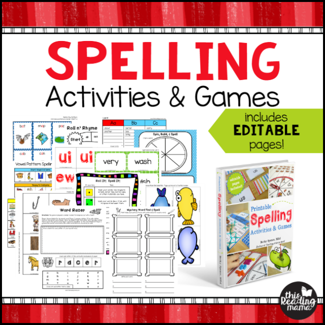 Printable Spelling Activities and Games by Becky Spence of This Reading Mama