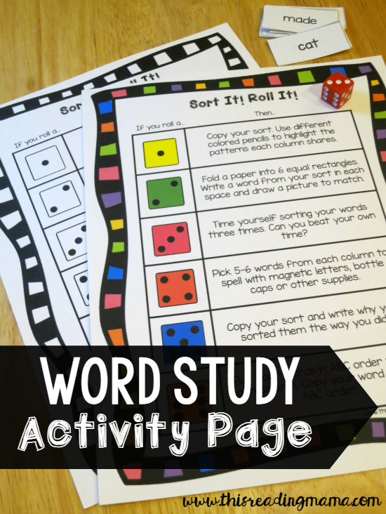 Word Study Sorts or Check Out The Word Study