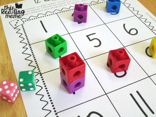 practice math facts with 12 squares and snap cubes