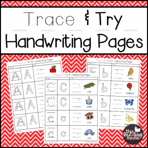 Trace and Try Handwriting Pages - square2