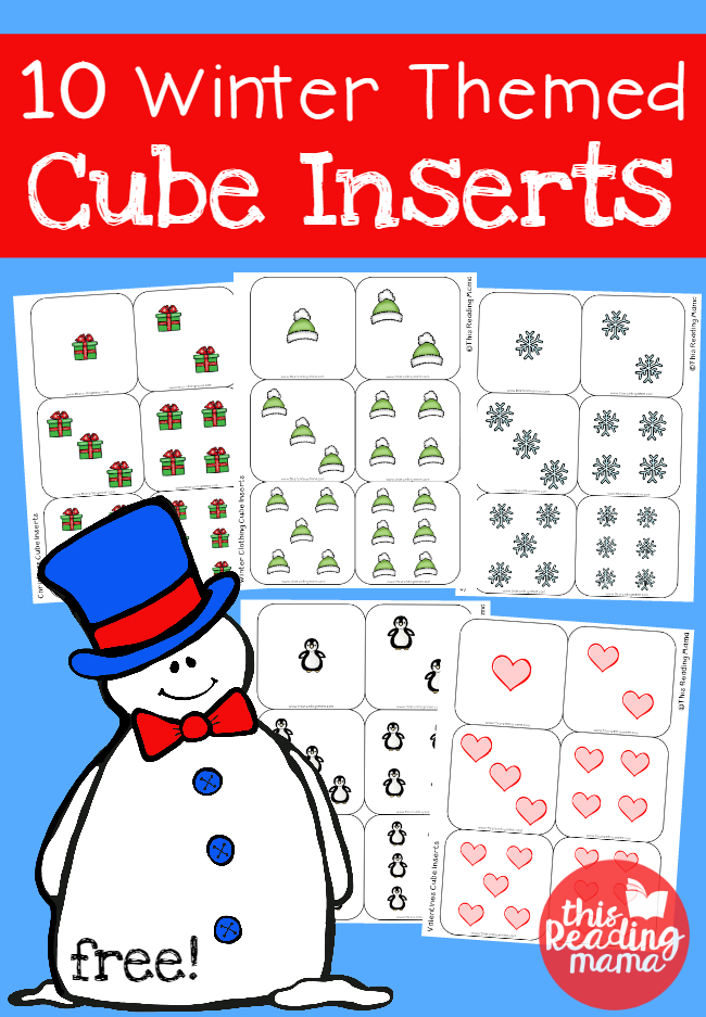 10 FREE Winter Themed Cube Inserts for Rolling Cubes - This Reading Mama