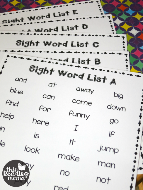 5 free printable sight word lists | This Reading Mama