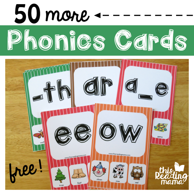 50 more free phonics cards from This Reading Mama