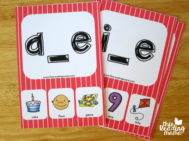 long vowel silent e phonics cards