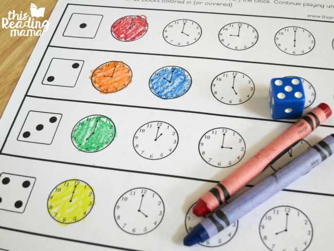 roll and read the time by the hour - coloring in clocks