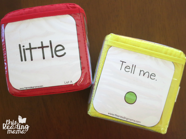 sentence writing and word inserts for learning cubes