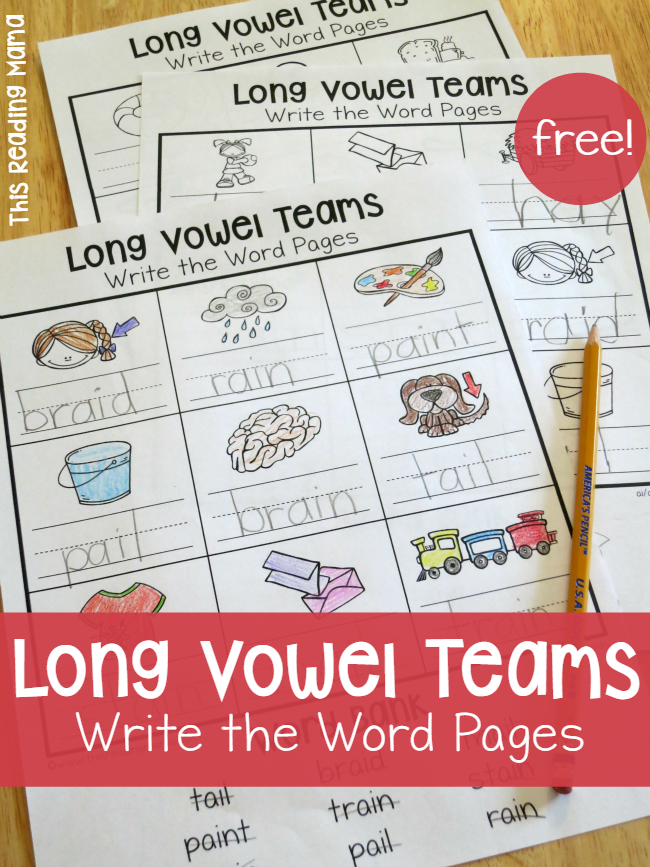 Printables Vowel Teams Worksheets long vowel teams worksheets write the word pages this reading mama free mama