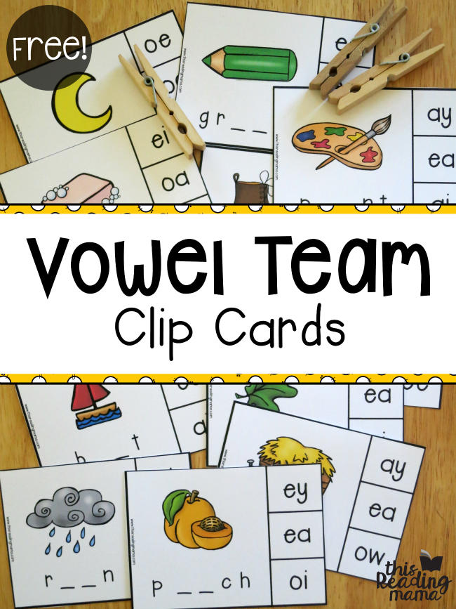 Free Vowel Team Clip Cards - This Reading Mama