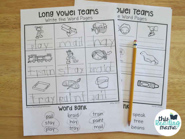 Printables Vowel Teams Worksheets long vowel teams worksheets write the word pages this reading mama mixed review mama
