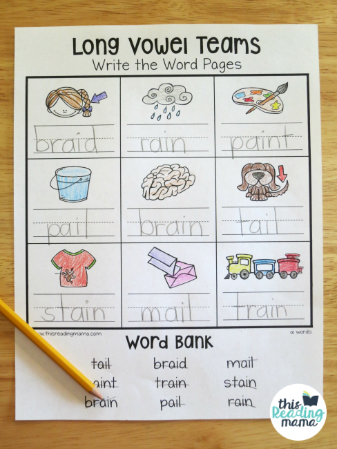 Long Vowel Teams Worksheets: Write the Word Pages - This Reading Mama