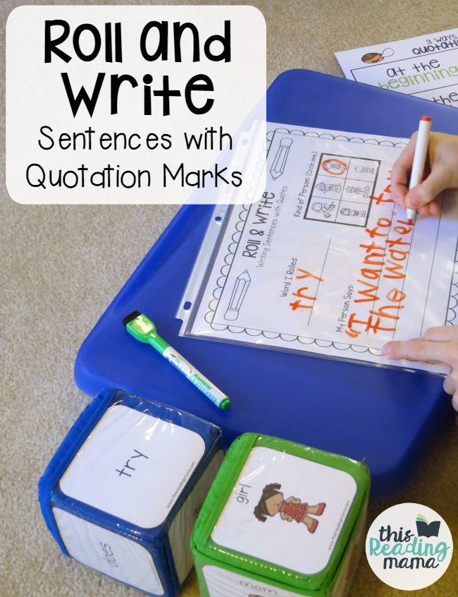 Roll and Write Sentences with Quotation Marks - This Reading Mama