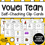 Self-Checking Vowel Team Clip Cards - This Reading Mama