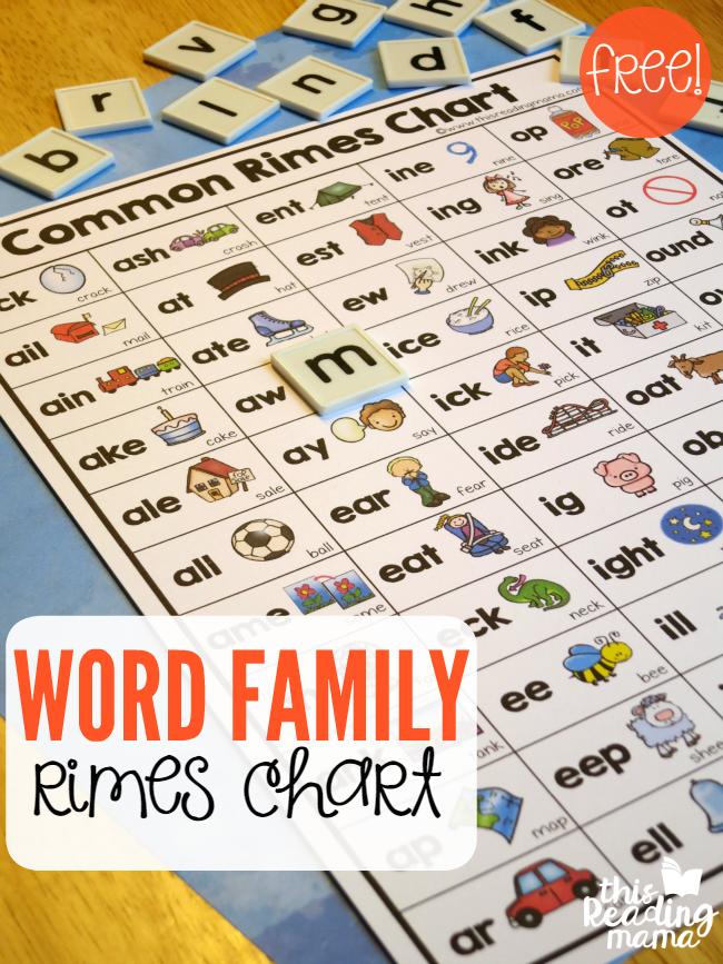 word family rimes chart