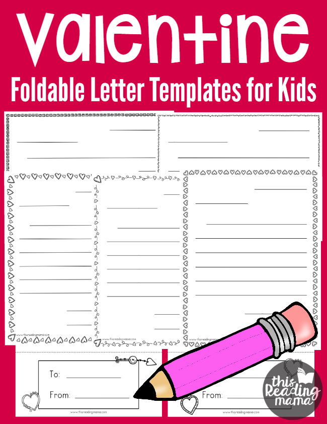 Writing Valentine Letters - Free Foldable Letter Templates for Kids - This Reading Mama