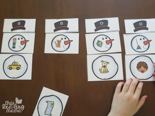 building short vowel snowmen with short a and short o