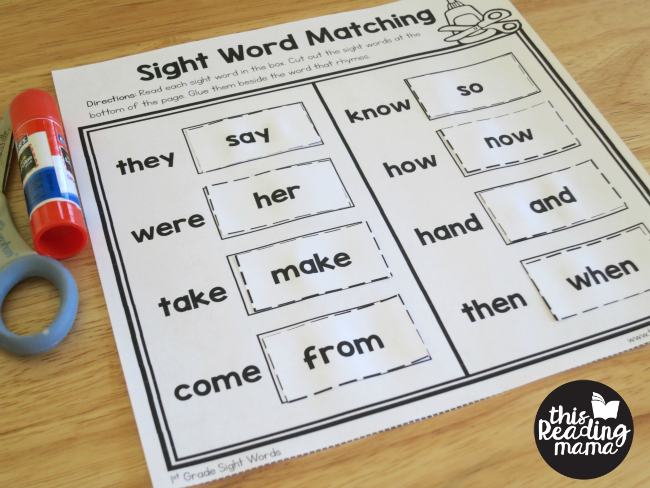 free sight word worksheets - match the rhyming words