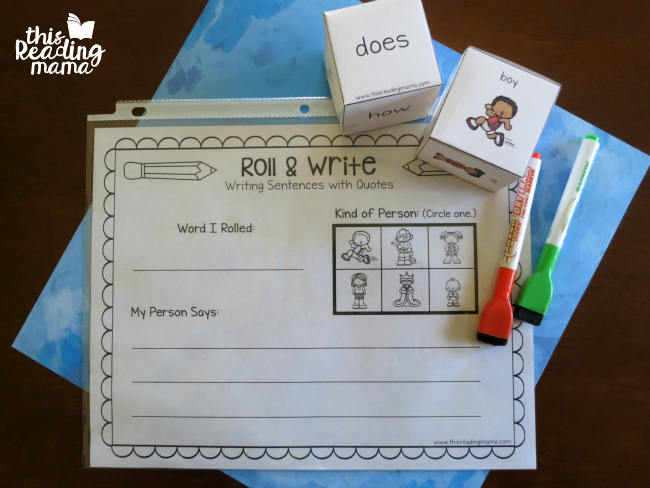 materials for roll and write - writing sentence with quotes