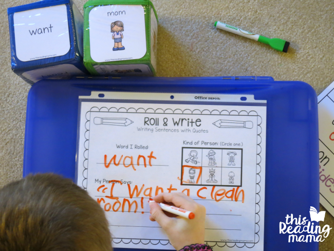 rolling and writing sentences with quotation marks
