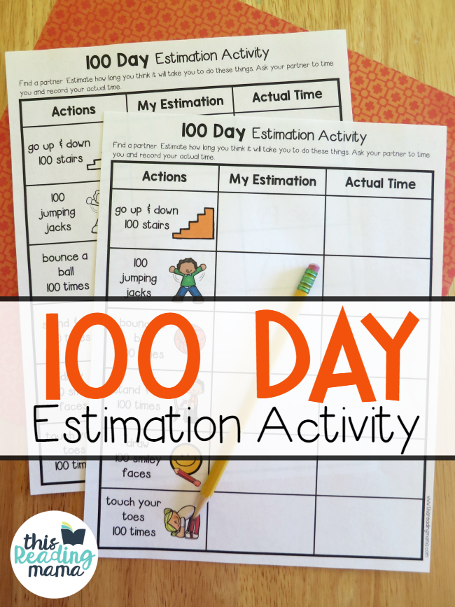 100 Day -Estimation Activity - This Reading Mama