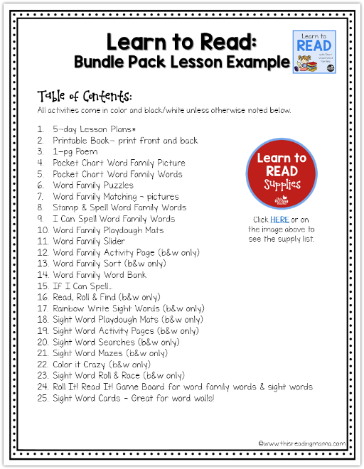 Learn to Read Activity List for Word Family Lessons
