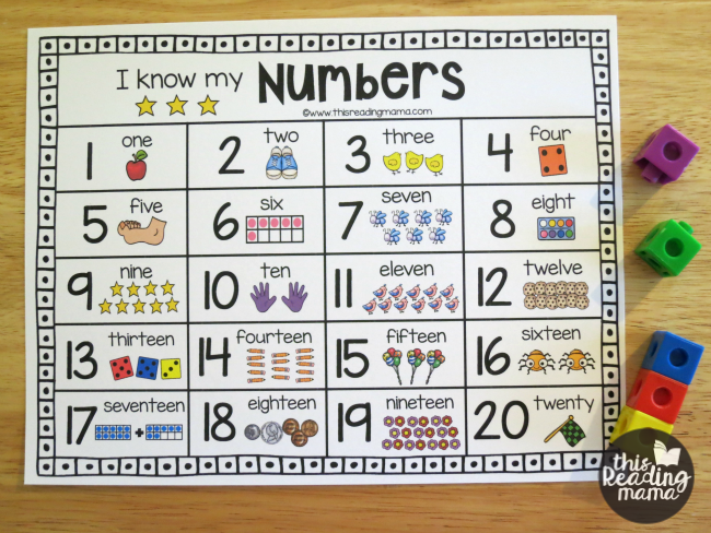 Number Names Worksheets printable numbers 1-20 : Printable Number Chart for Numbers 1-20 - This Reading Mama
