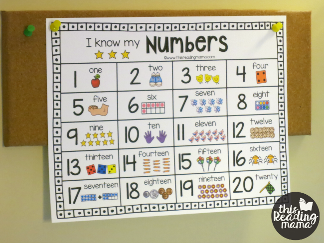putting the number chart where the child can see it