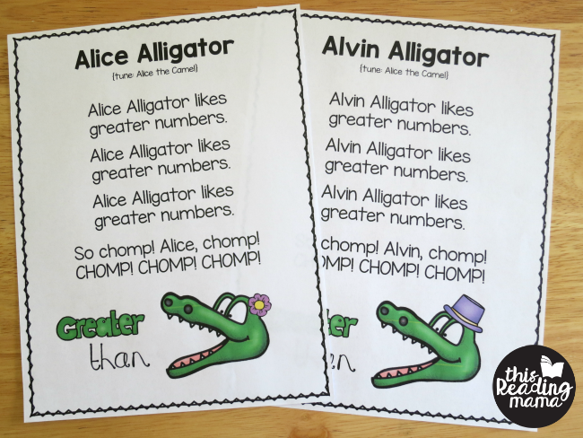 Alligator Songs for Greater Than and Less Than Concept