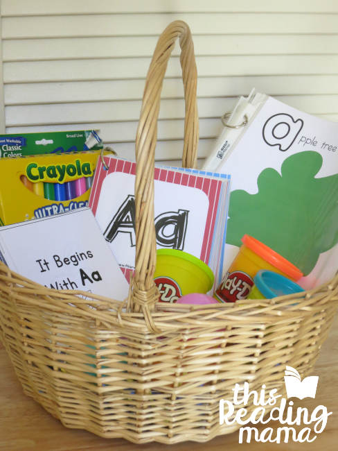 Alphabet Easter Basket with alphabet readers and alphabet playdough mats