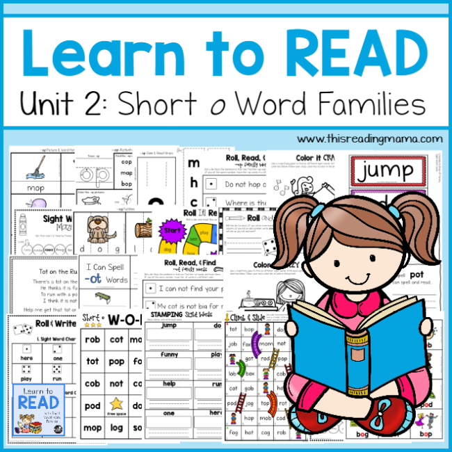 learn to read short o word families unit 2 this reading mama