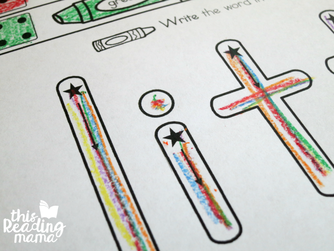 Level 1 Rainbow Write - with star and arrow for letter formation