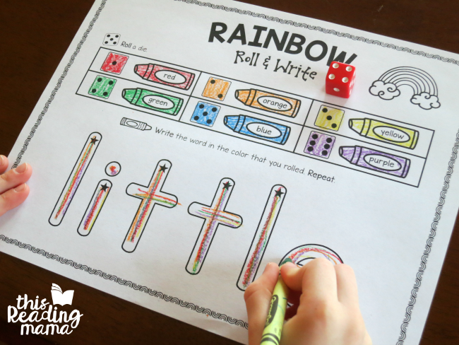 Rainbow Write - Roll and Write review sight words from Reading the Alphabet - little