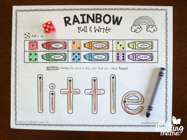 Rainbow Write pages - level 1 - aligned with Reading the Alphabet