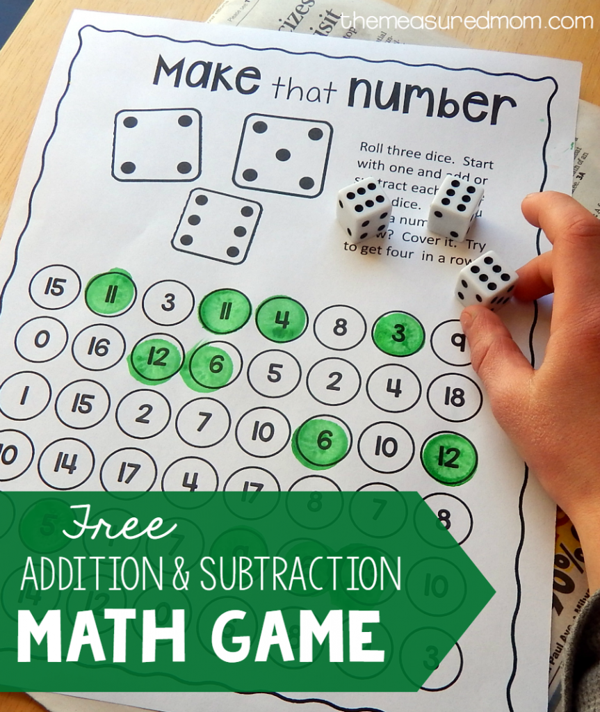 addition and subtraction math game