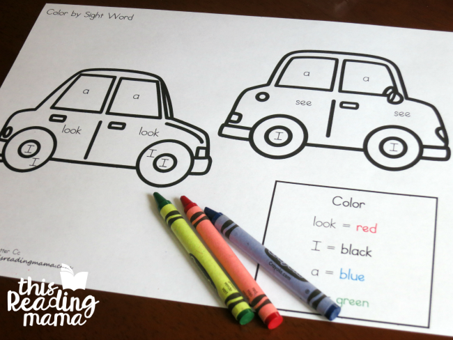 simple sight word coloring pages example from Reading The Alphabet