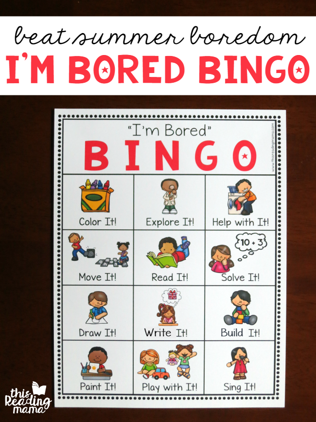 I\'m Bored BINGO Chart for Kids - This Reading Mama