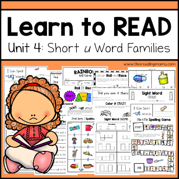 Learn to Read Unit 4 - tpt - Short u Word Families - This Reading Mama