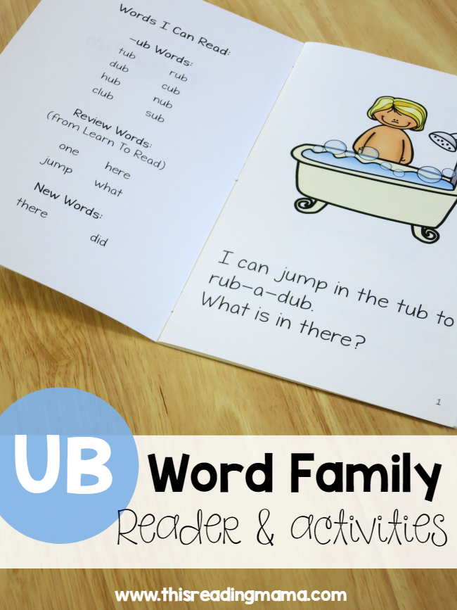 Learn To Read UB Word Family Reader & Activities