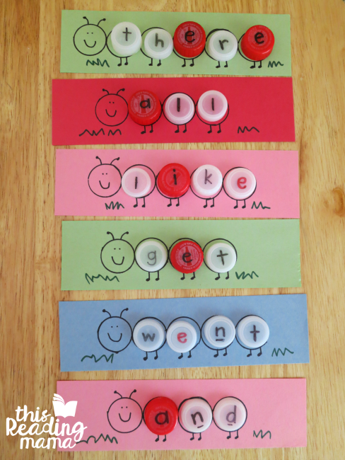 caterpillar sight words all spelled with bottlecaps
