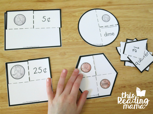 coin puzzle sorting mats