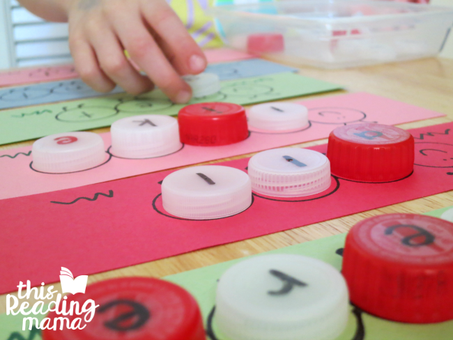 spelling caterpillar sight words with bottle caps