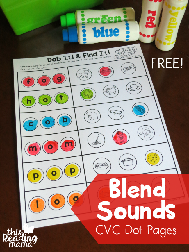 Blend Sounds with CVC Dot Pages - This Reading Mama