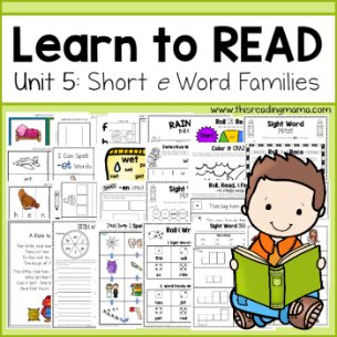 Learn to Read sidebar - Unit 5- Short e Word Families-This Reading Mama