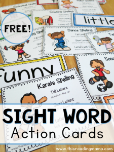 FREE Sight Word Action Cards
