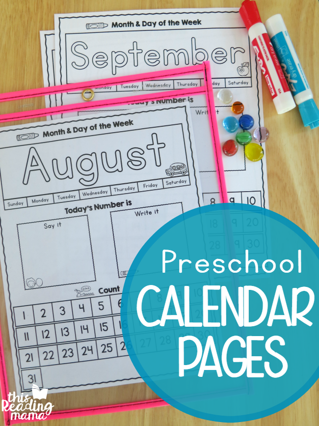 Interactive Calendar Games Kindergarten : Preschool calendar pages free this reading mama