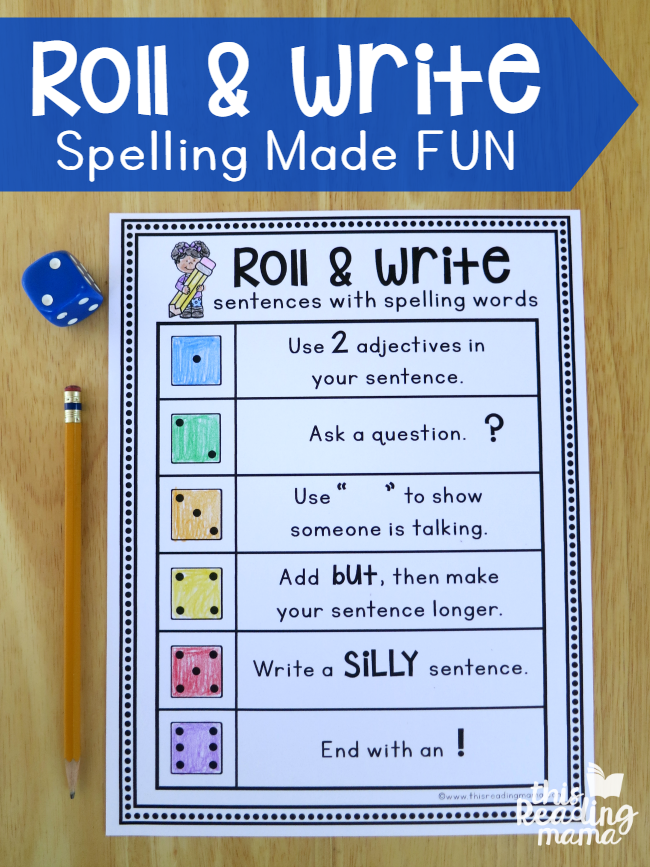roll write sentences with spelling words this reading mama